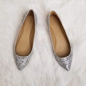 Ann Taylor Silver Glitter Flats